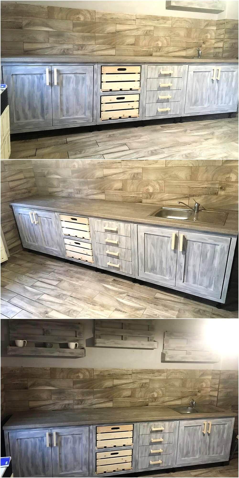 Vintage Style Repurposed Wood Pallets Kitchen Wood Pallet Furniture Pallet Kitchen Cabinets Pallet Kitchen Wood Pallet Projects
