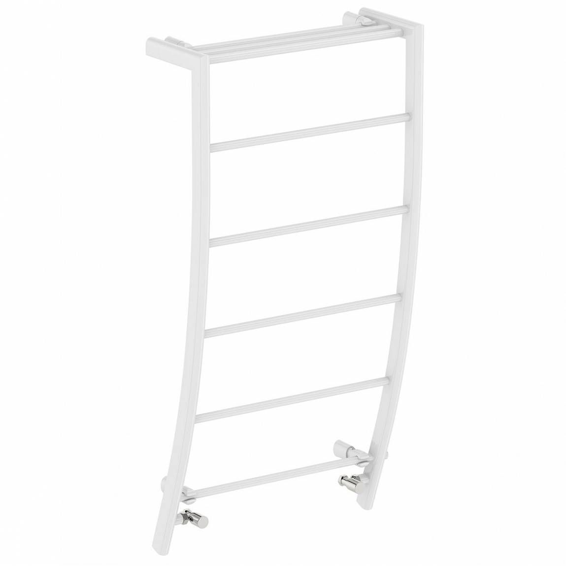 Clarity White curved heated towel rail 1200