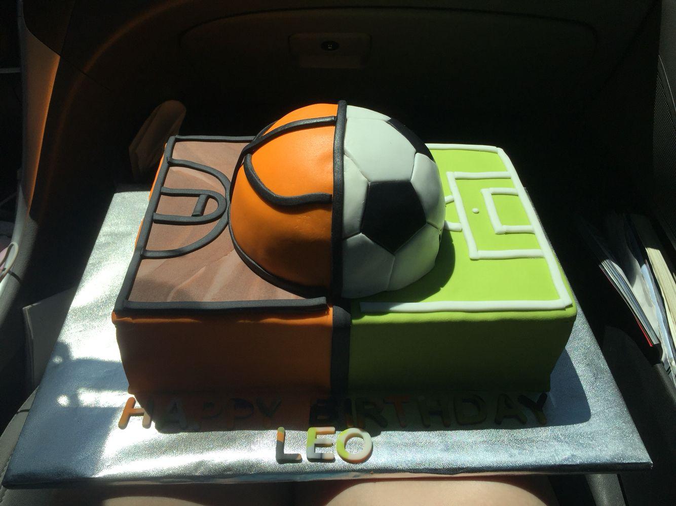 Half Basketball Half Soccer Cake Soccer Cake Soccer Birthday Cakes Basketball Cake