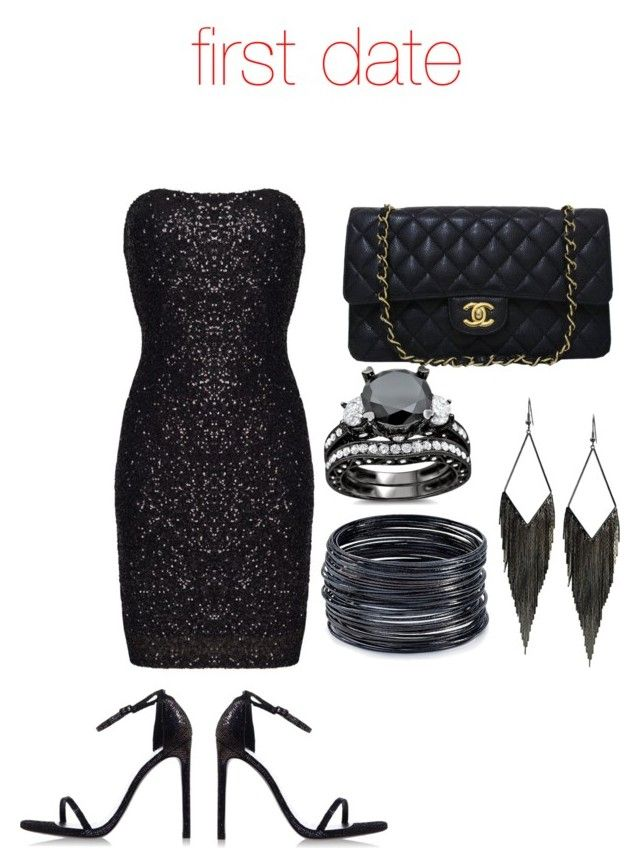 """first date"" by batman2274 ❤ liked on Polyvore featuring Stuart Weitzman, Chanel, GUESS and ABS by Allen Schwartz"