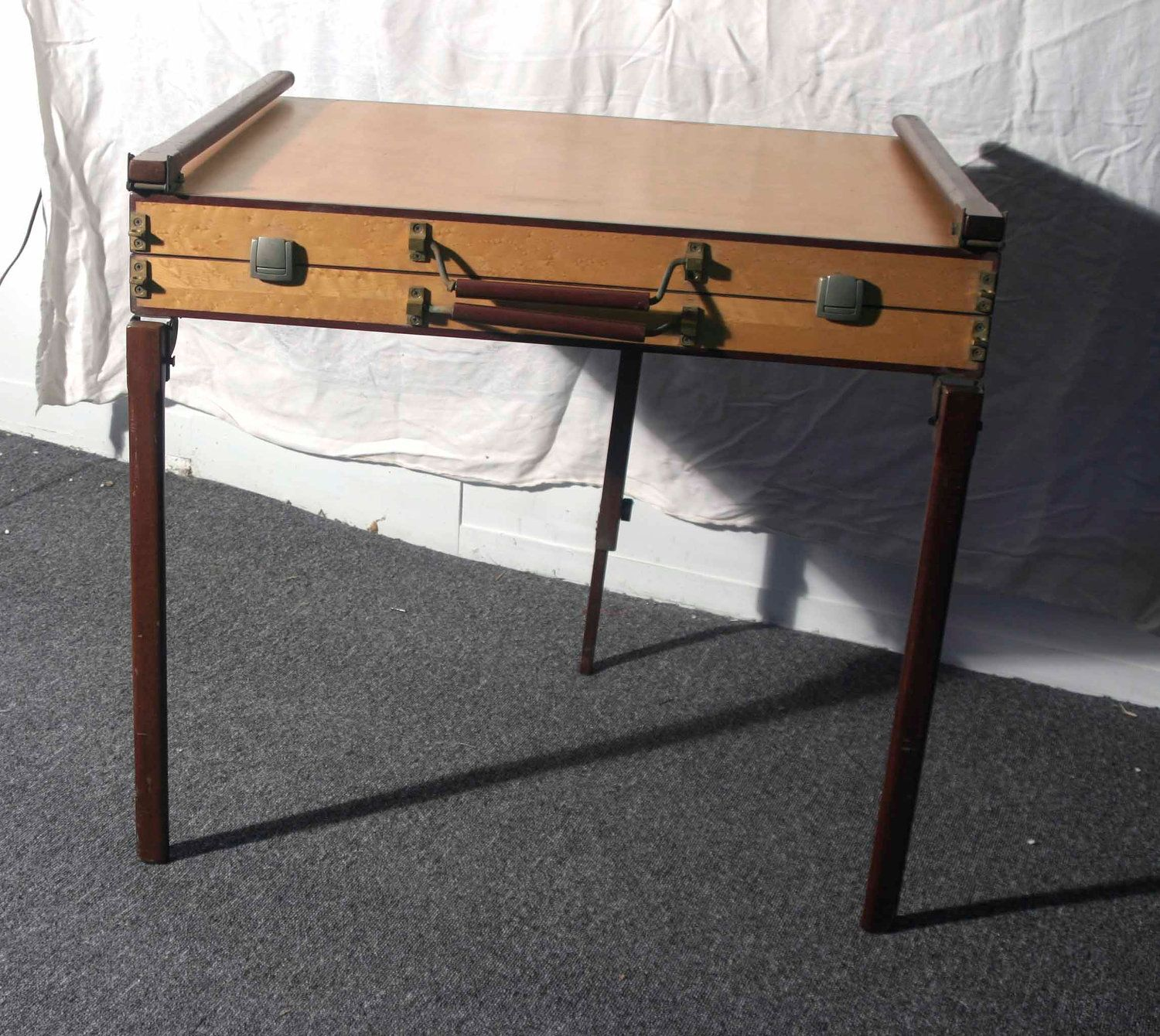 Suitcase Folding Table Opens To And Display Case Collapsable 2 200 00 Via Etsy