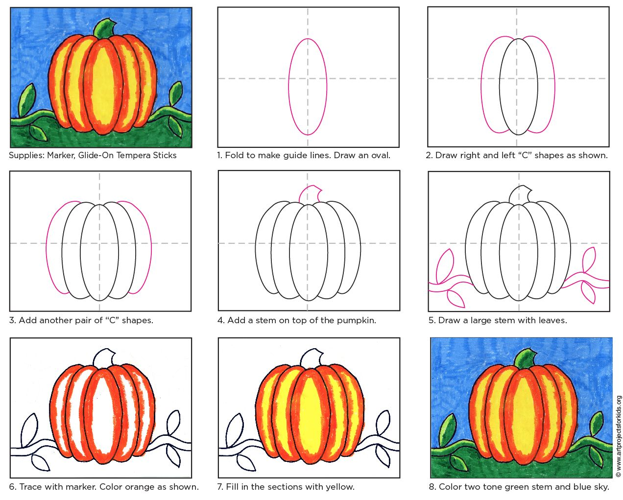 How to Draw an Easy Pumpkin · Art Projects for Kids