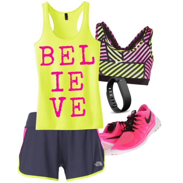 BELIEVE TANK! by jamie-lynn-barnett on Polyvore featuring polyvore, fashion, style, The North Face, NIKE and Fitbit