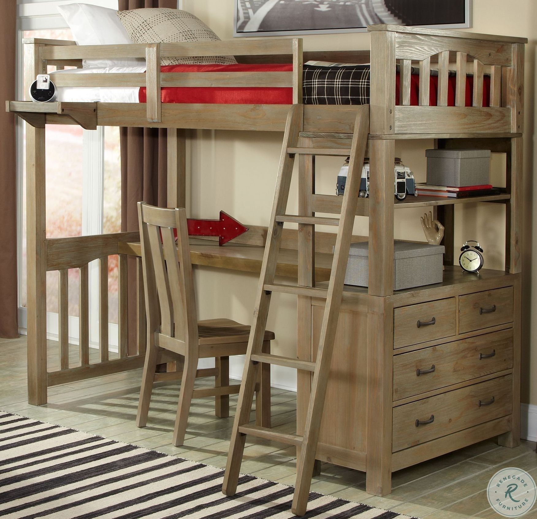 Lake House White Twin Loft Bed with Desk in 2020 Diy
