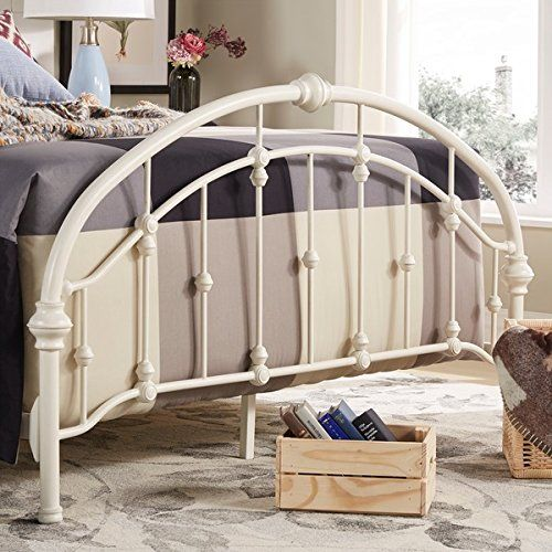 White Antique Vintage Metal Bed Frame In Rustic Wrought Cast Iron Curved Round Headboard And Footboard Victorian Old Fashioned Bedroom Furniture