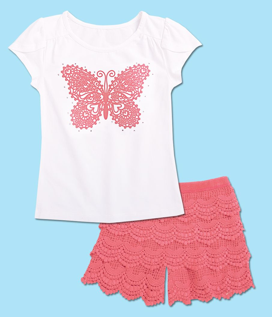 4ca892272 From CWDkids  Butterfly Top   Ruffle Shorts