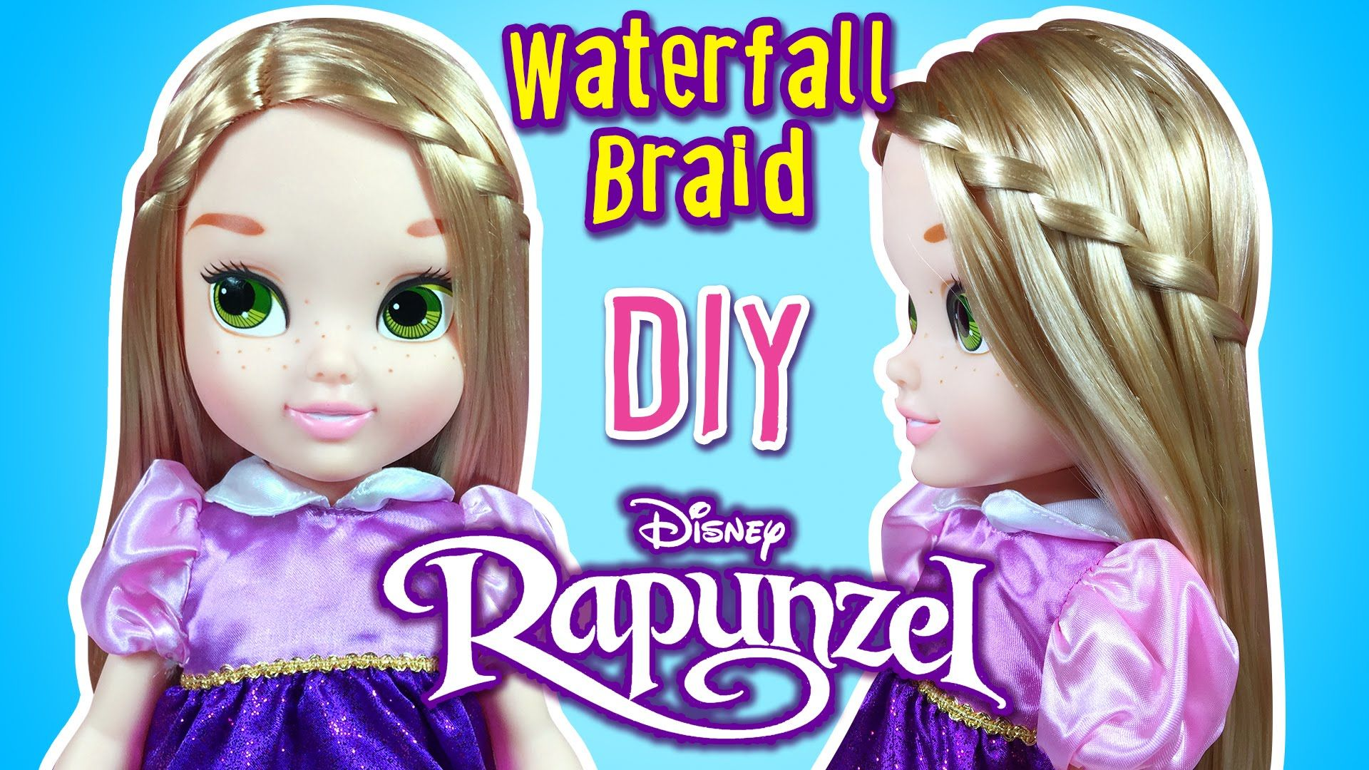 Disney Rapunzel Doll Hairstyles - How to Make Waterfall Braid for
