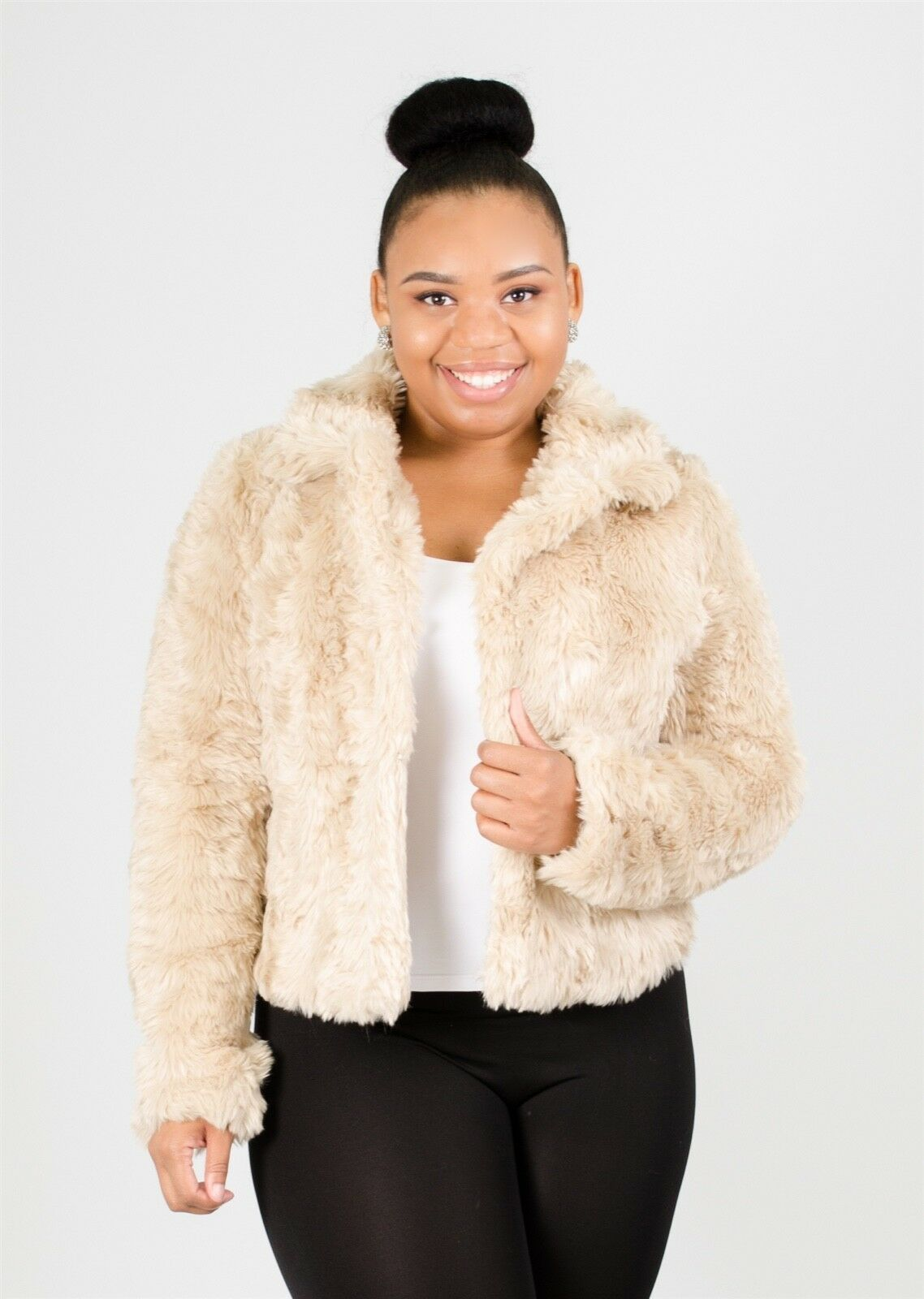 Chic Ladies Faux Fur Short Jacket, Work or Play, Black