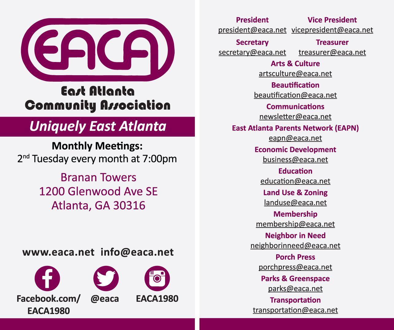 Business card designed for the East Atlanta Community Association ...