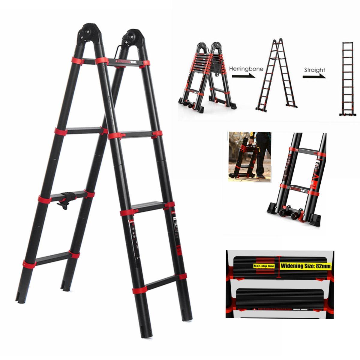 Heavy Duty Aluminum Ladder Stable Step Ladder Telescoping Extension Ladder W Wheels Non Slip Rubber Feet Indoor Outdoor Repairing Ceiling Lights Painting Walls In 2020 Step Ladders Aluminium Ladder Ladder