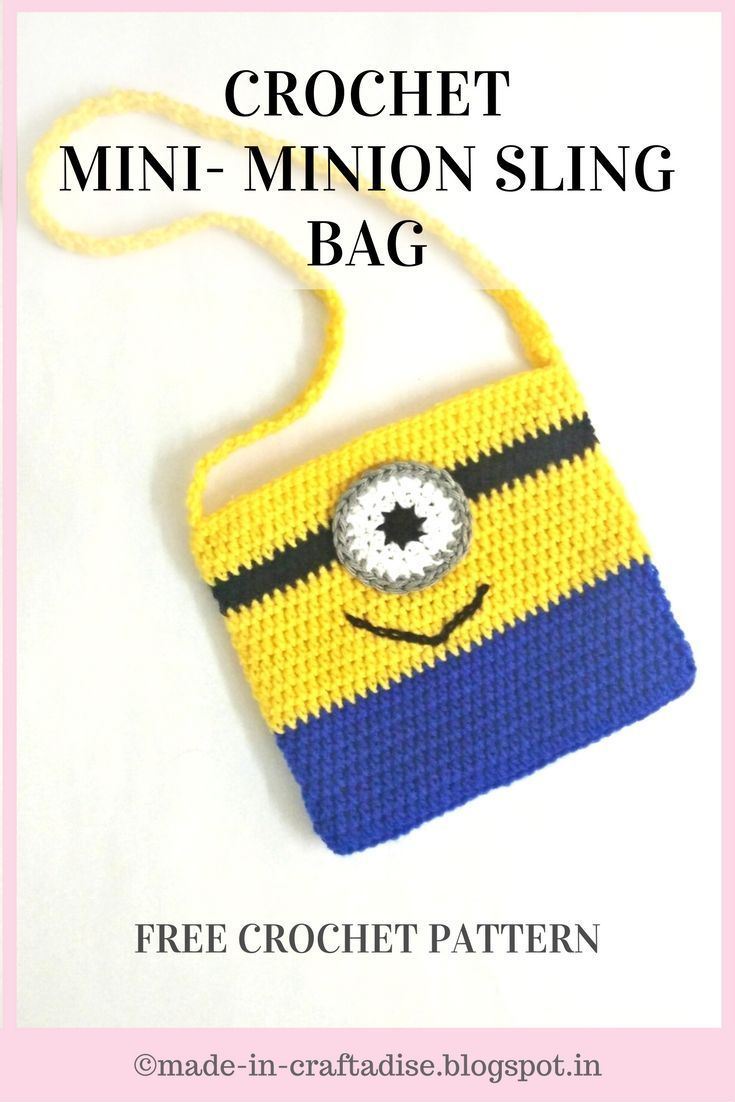 Crochet Mini Minion Sling Bag - Free Crochet Pattern,  #bag #Crochet #Free #Mini #Minion #Pat... #minioncrochetpatterns Crochet Mini Minion Sling Bag - Free Crochet Pattern,  #bag #Crochet #Free #Mini #Minion #Pattern #Sling #slingbagsdesign #minioncrochetpatterns