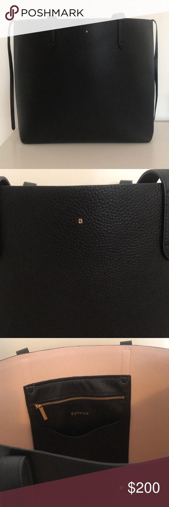 Cuyana Structured Tote Bag Monogrammed with B Cuyana bag