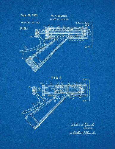 Garden Hose Nozzle Patent Print Art Poster Blueprint (24u0027 x 36 - new robot blueprint vector art
