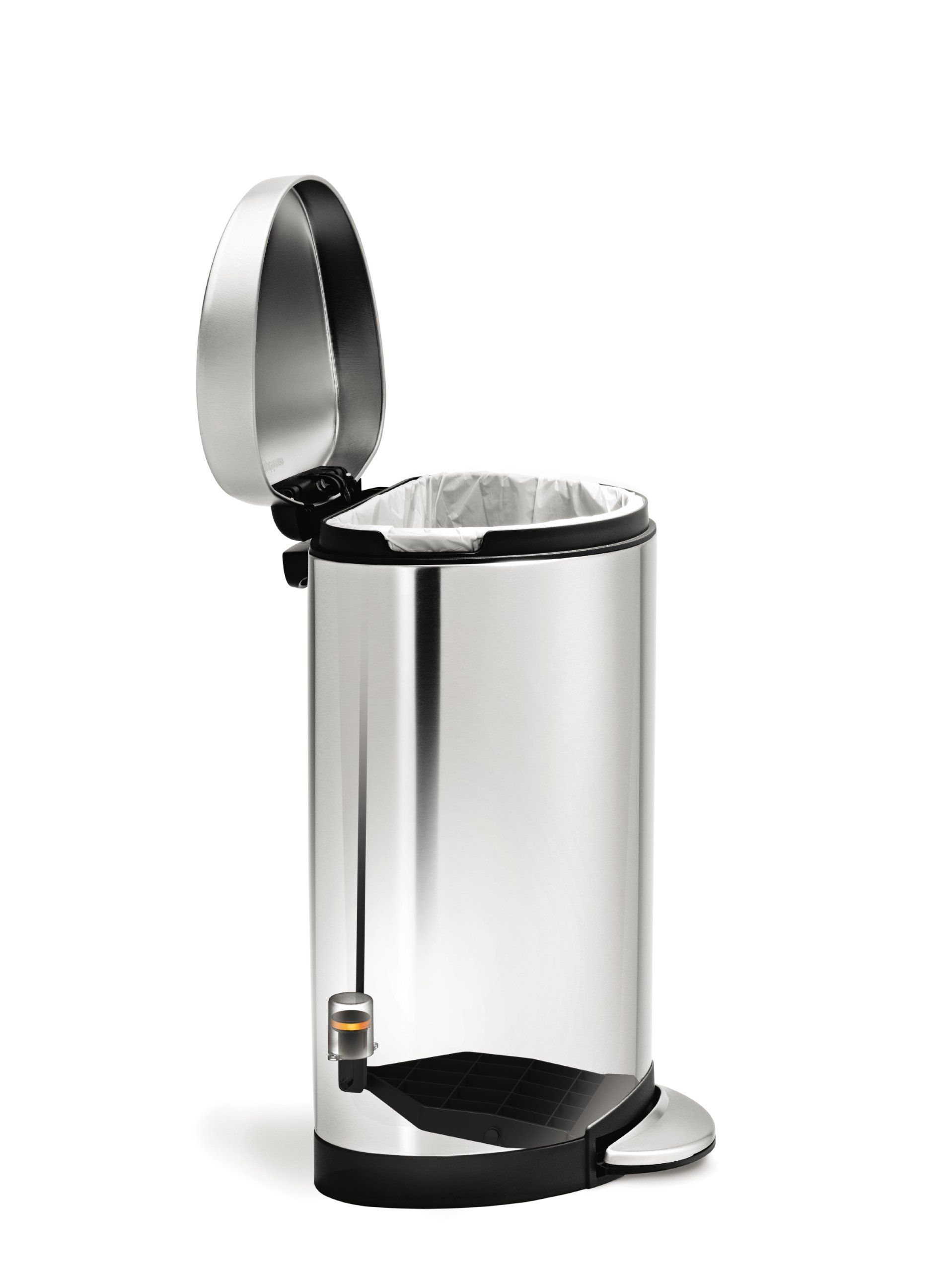 Amazon.com   Simplehuman Semi Round Step Trash Can, Stainless Steel, 10