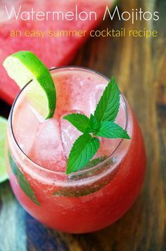 Looking for an easy summer cocktail recipe? These watermelon mojitos with fresh mint take only a few minutes to make. A watermelon recipe for grownups!