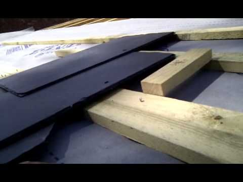 Setting Out The First Row Of Slates On A Pitched Roof Pitched Roof Slate Roof Roof