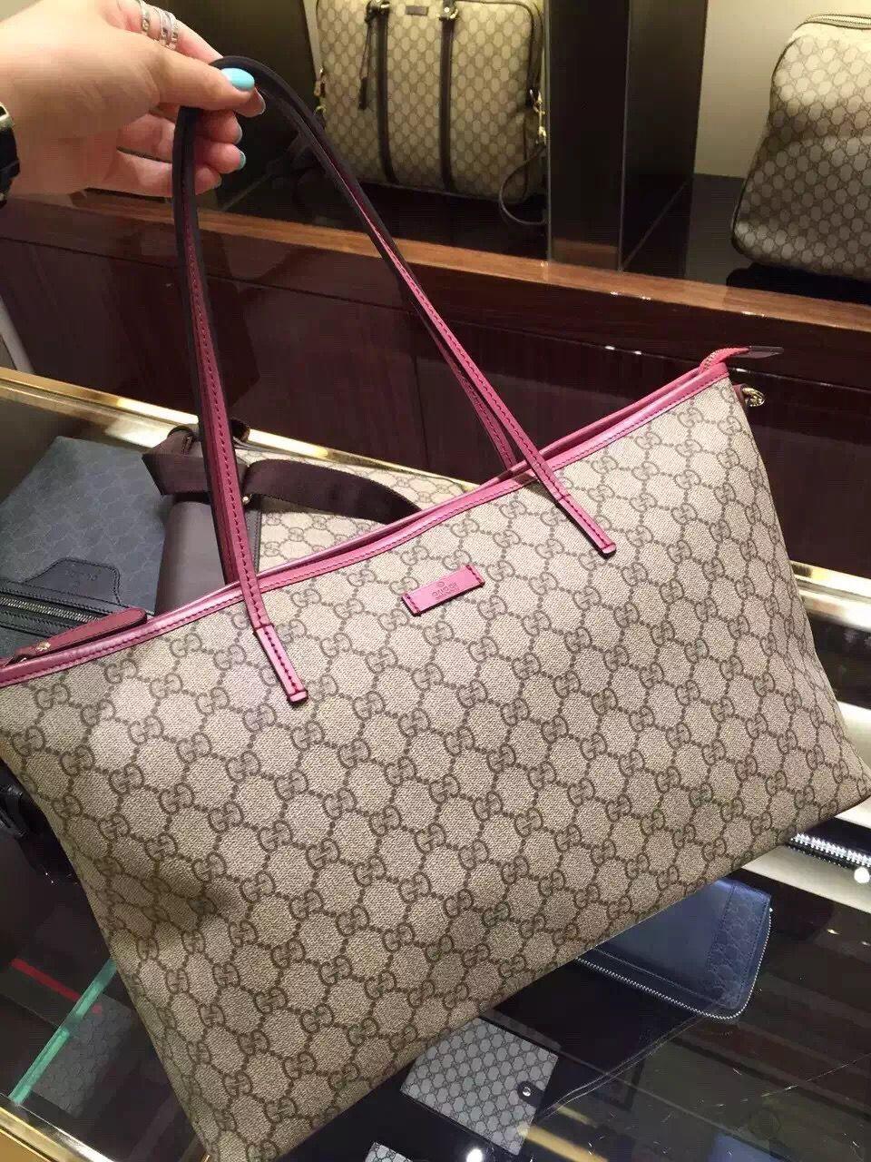 75f3834d198 Gucci GG Supreme Canvas Medium Tote Bag 353437 Rose