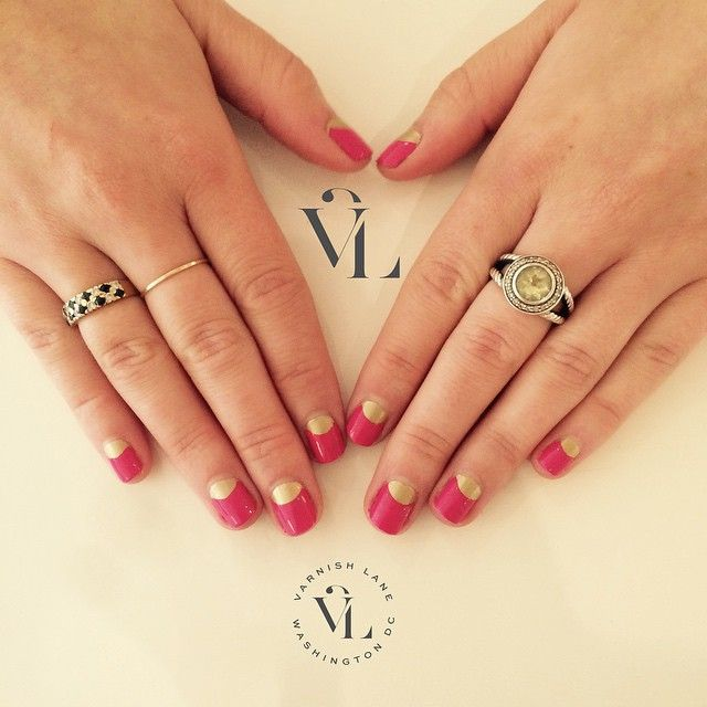 Looking for a fun twist on a classic mani?! Try a moon mani! Book online or give us a call! #moonmani #varnishlane #getvarnished #VLDC #nails #weekendnails (wearing 'Where's my Oscar' by @laurenbbeauty and T.I.T.S. by @rgbcosmetics)