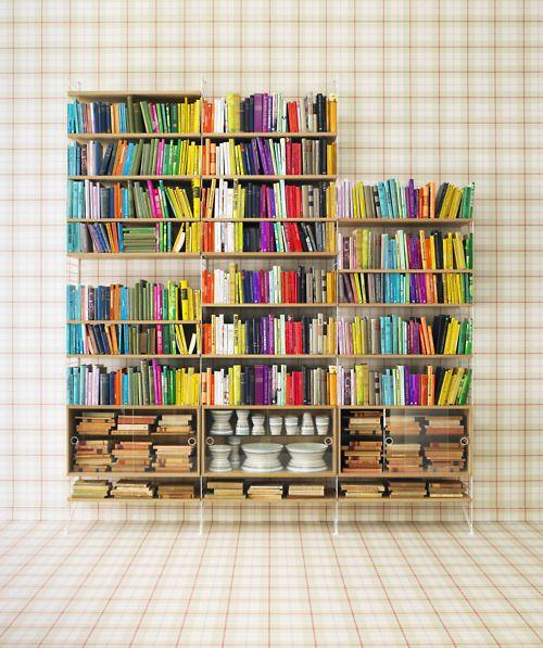 Colorful Books Mensole Sottili Organizzazione Scaffale Arredamento Creativo