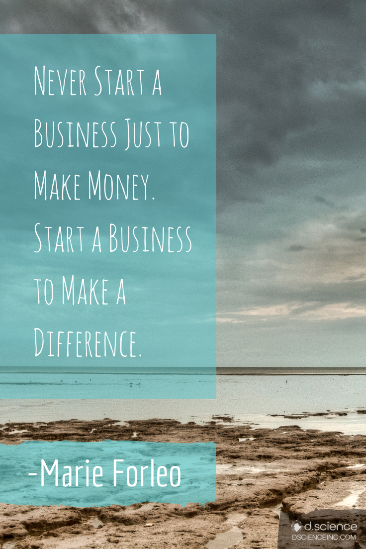 """Never start a business just to make money. Start a ..."