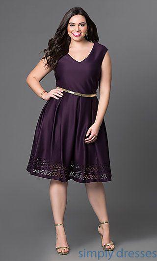 Eggplant-Purple Short A-Line Plus-Size Party Dress | Fashion ...