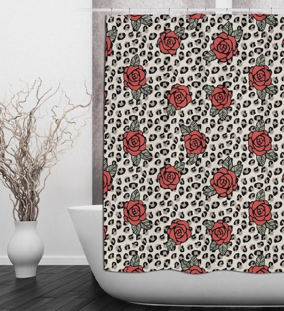 Rockabilly Rose and Leopard Shower Curtains and Bath Mats Products