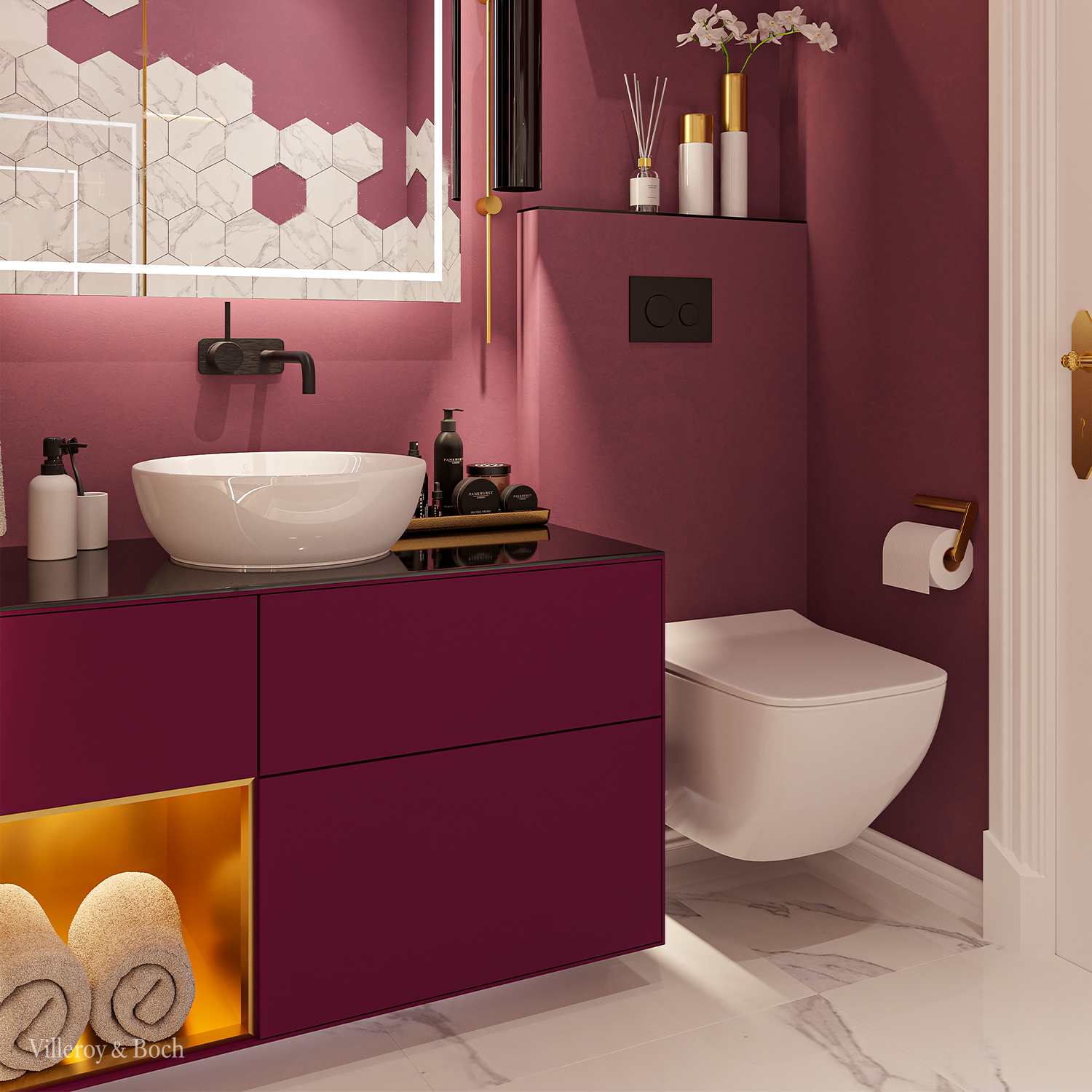 Bathroom Design In Berry Colours In 2020 Rot Farbe
