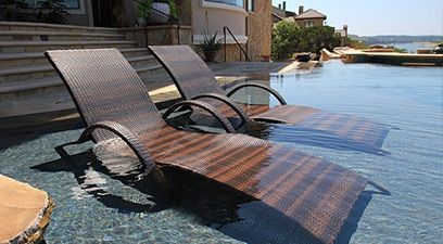 Pool design with tanning ledge chair  SINK OR SWIM