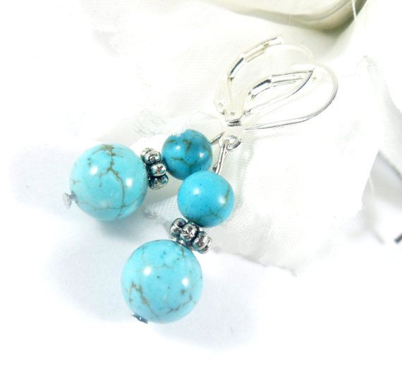 Magnesite Beads Blue Earrings Boho Chic by EnchantedRoseShop