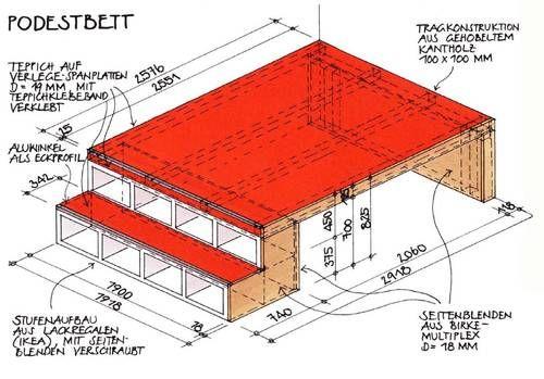 Bett mit stauraum 140x200 selber bauen  Podestbett Bauanleitung mit Bauskizze | Diseño hogar | Pinterest ...