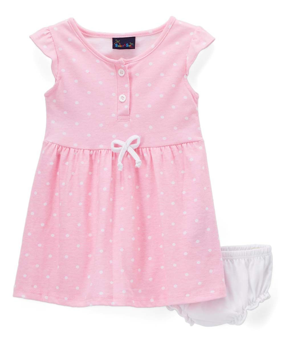 64ba97c2f0e6 Sweet & Soft Pink Dots Flutter-Sleeve Dress & Bloomer Set - Infant | zulily