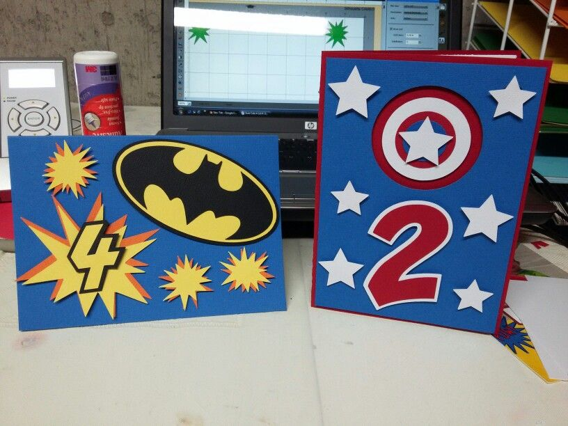 Handmade Superhero Birthday Cards Card Making Kids Kids Birthday Cards Birthday Cards