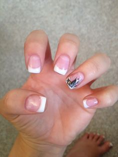 Gel Nails French Tip With Black Flower