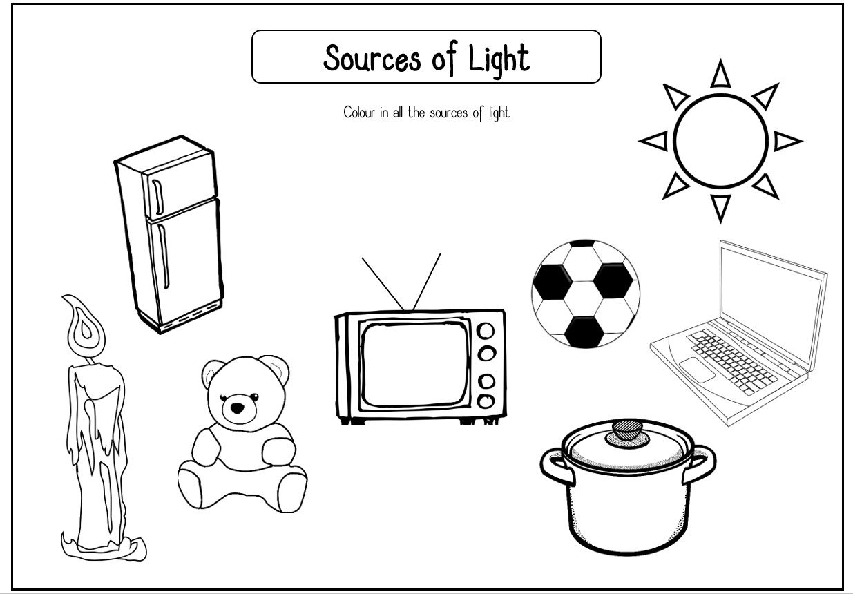 Sources of Light Coloring Worksheet! Perfect for 1st- 3rd