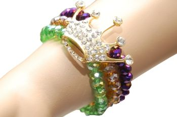 Purple Green Gold Bracelet with Crown