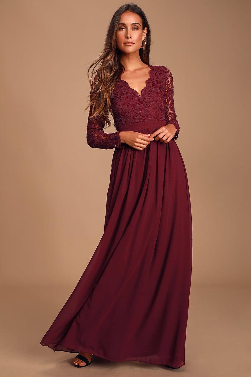 Awaken my love burgundy long sleeve lace maxi dress long