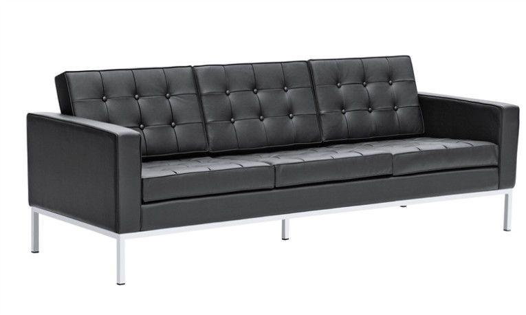 "Mid Century Modern Florence Knoll Style 90"" Sofa Black Top Grain Italian Leather #Knoll #Modern"