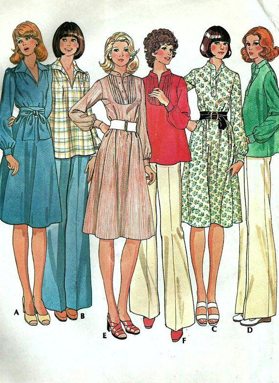 Vintage 70s McCalls 4866 Misses UNCUT Smock Style Dress or | 1970s ...