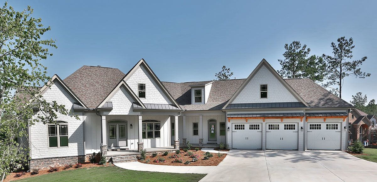Plan 36055DK: Split Bed Craftsman with Angled Garage ... on house plans with angled attached garage, small house plans with angled garage, ranch home designs floor plans, ranch home with two car garage, ranch house plans with 3 car garage, ranch homes with walkout basement house plans,
