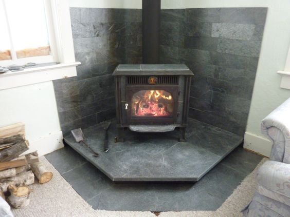 Idea For Floating Wood Stove Hearth Dont Need Extra Tile On Floor