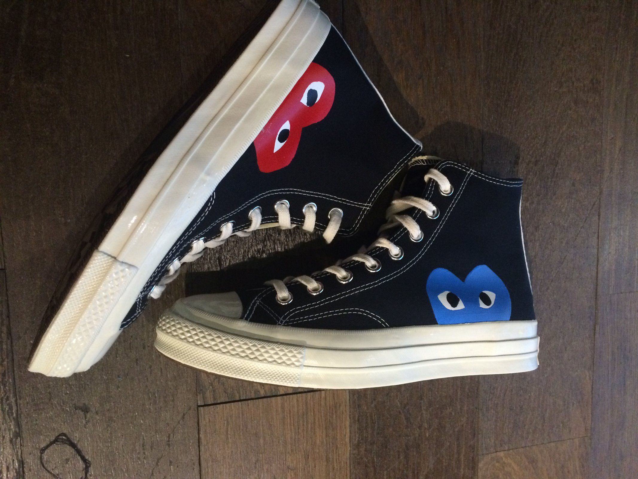 529a90dcd84 Black High Converse x Comme Des Garçons with Red Blue CDG heart.- Hand  Painted- Paint is Crack