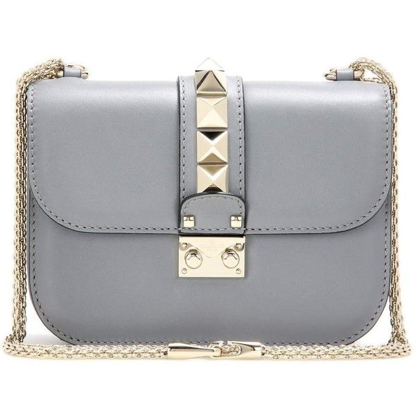 Valentino Lock Small Leather Shoulder Bag ($1,565) ❤ liked on Polyvore featuring bags, handbags, shoulder bags, clutches, valentino, grey, purse shoulder bag, leather handbags, gray leather handbags and grey leather handbags