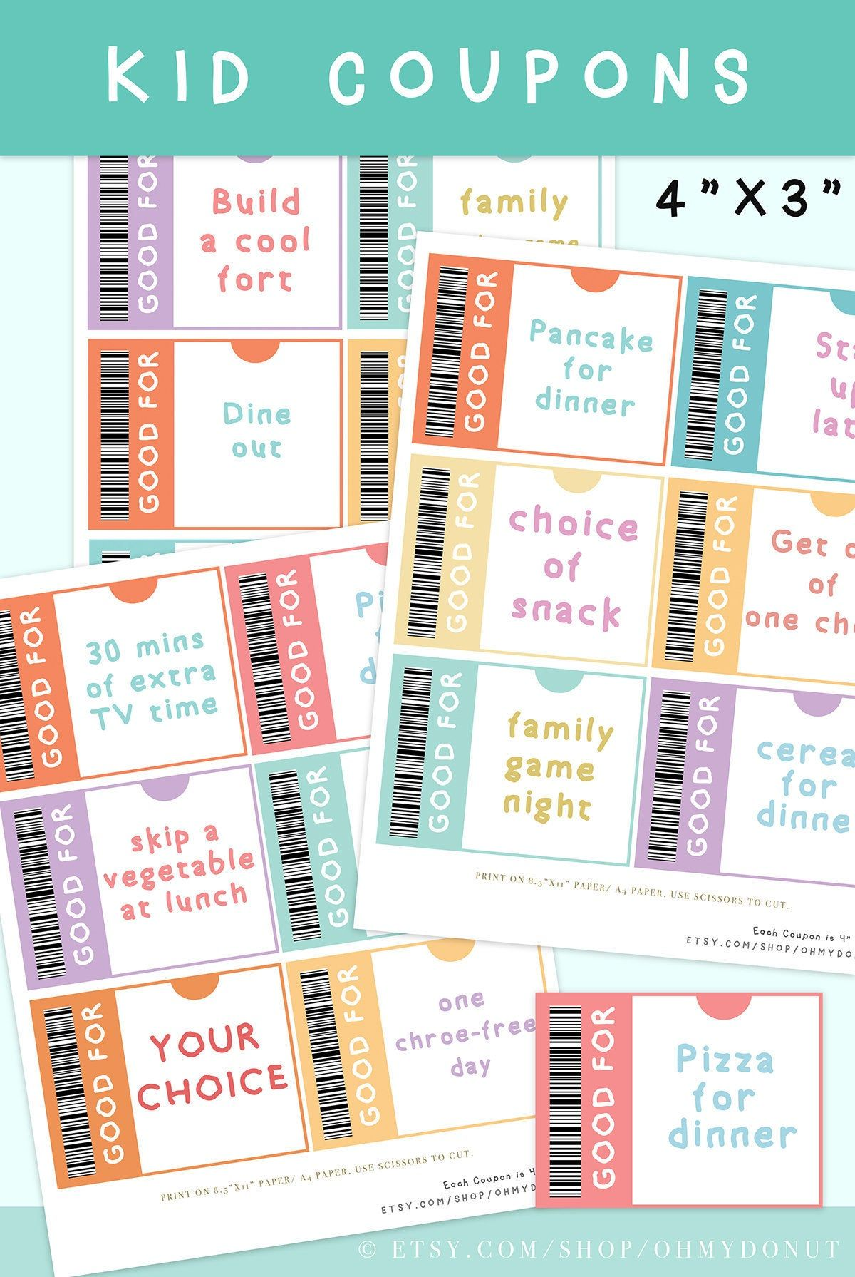 Kids Reward Coupon 3x4 Kid Coupons Kid Coupon Etsy Kids Rewards Teacher Coupons Chores For Kids