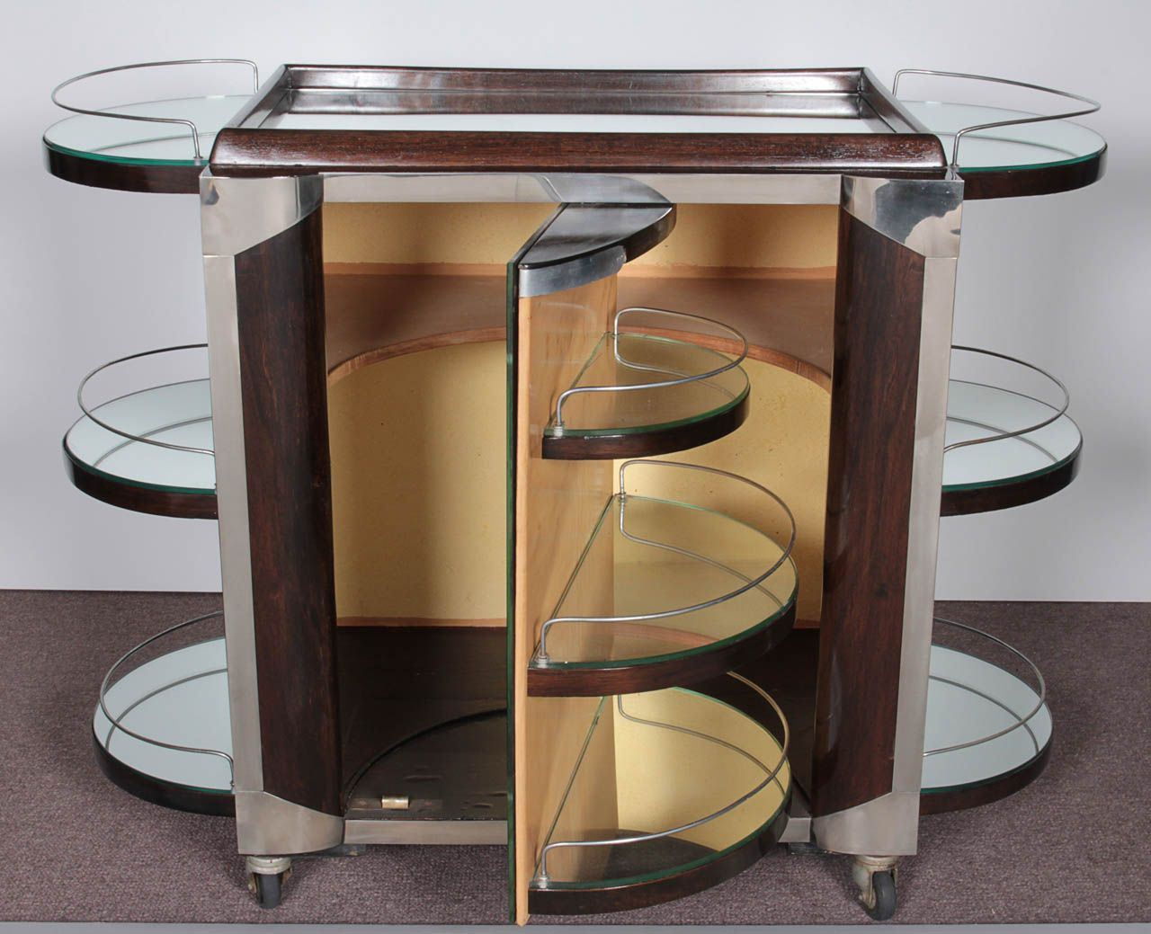 French Art Deco Mirrored Bar Cart On Wheels Stamped Bar