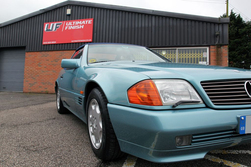 1993 Mercedes SL 320 Receives Gloss Enhancement Treatment At UF Detailing  Studio, Brands Hatch. Paintwork Protected With Gtechniq Crystal Serum Black.