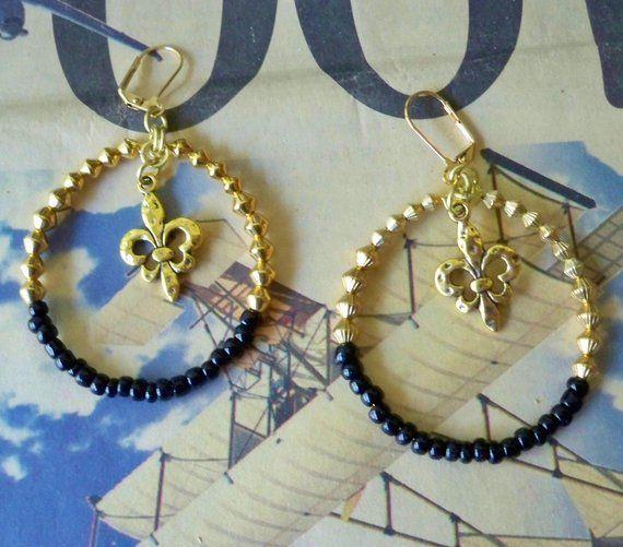 Black And Gold Hoop Earrings Fleurdelis Charms Beaded New Orleans Saints Jewelry