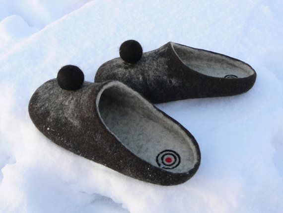 81f6415f474 Felted mens slippers-Targets-Organic wool-Handmade by Woolinspired ...