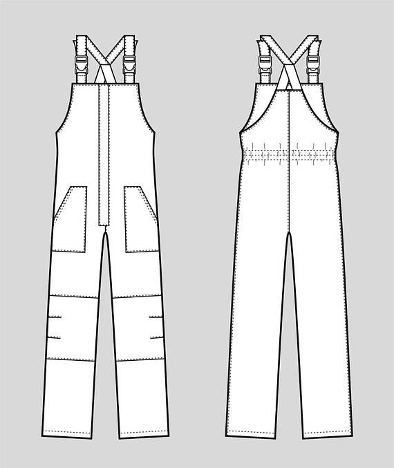83ab5a6ebf77 Work overalls vector fashion flat sketch