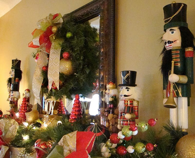 Christmas Mantle Decorations Using My Husbands Nut Cracker Collection,