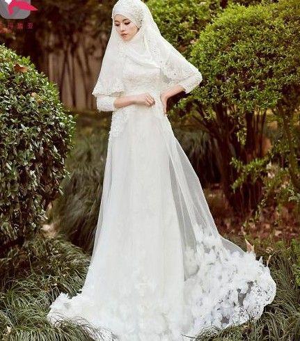 Aliexpress Buy Arab Muslim Bride White Wedding Dress